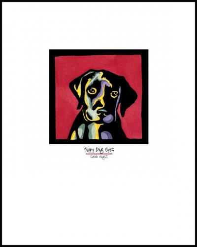Puppy Dog Eyes - Simple Giclee Print - Sarah Angst Art Greeting Cards, Giclee Prints, Jewelry, More