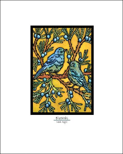 Bluebirds - Simple Giclee Print - Sarah Angst Art Greeting Cards, Giclee Prints, Jewelry, More