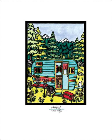 Camping - Simple Giclee Print - Sarah Angst Art Greeting Cards, Giclee Prints, Jewelry, More