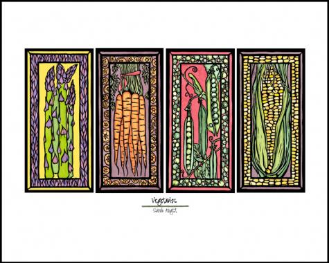 Veggies - Simple Giclee Print - Sarah Angst Art Greeting Cards, Giclee Prints, Jewelry, More