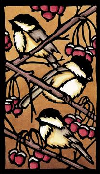 Original - Three Chickadees - Sarah Angst Art Greeting Cards, Giclee Prints, Jewelry, More