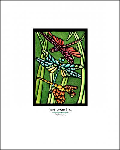 Three Dragonflies - Simple Giclee Print - Sarah Angst Art Greeting Cards, Giclee Prints, Jewelry, More