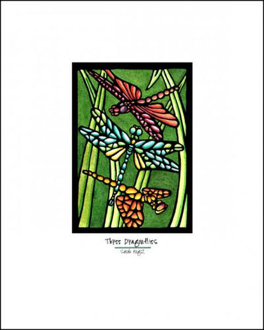 Three Dragonflies - Simple Giclee Print