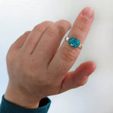 Size 4.75 Blue Gem Turquoise and sterling silver ring