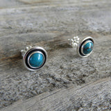Blue gem turquoise and sterling silver stud earrings