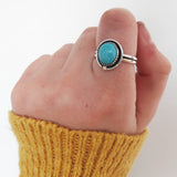 Size 7.5 blue turquoise and sterling silver shadowbox ring with 14k gold accent