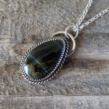 Blue tiger eye and sterling silver pendant