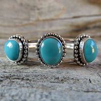 Fox turquoise and sterling silver cuff bracelet