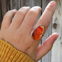 Brown Montana Agate and Sterling Silver Ring on Hand
