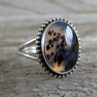 Size 8 Montana agate and sterling silver ring