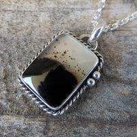 Rectangle Montana Agate and Sterling Silver Pendant