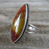 Red and Yellow Utah Jasper and Sterling Silver Ring