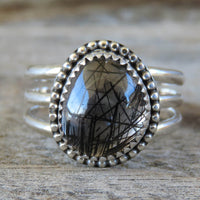 Size 9.25 Tourmalinated Quartz and Sterling Silver Ring