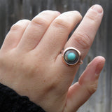 Campitos turquoise and sterling silver ring with copper shadowbox on hand
