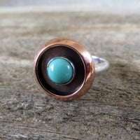 Campitos turquoise and sterling silver ring with copper shadowbox