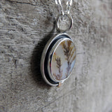 Dendritic agate shadowbox pendant with 14k gold accent