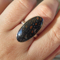 Size 6.5 dinosaur gem bone ring