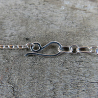 Hand forged sterling silver pendant hook clasp on adjustable chain