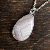white lace agate and sterling silver pendant