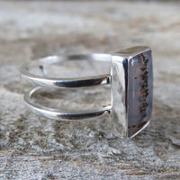 Size 7.5 Montana Agate and Sterling Silver Cage Ring