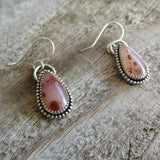 Pigeon blood agate and sterling silver earrings