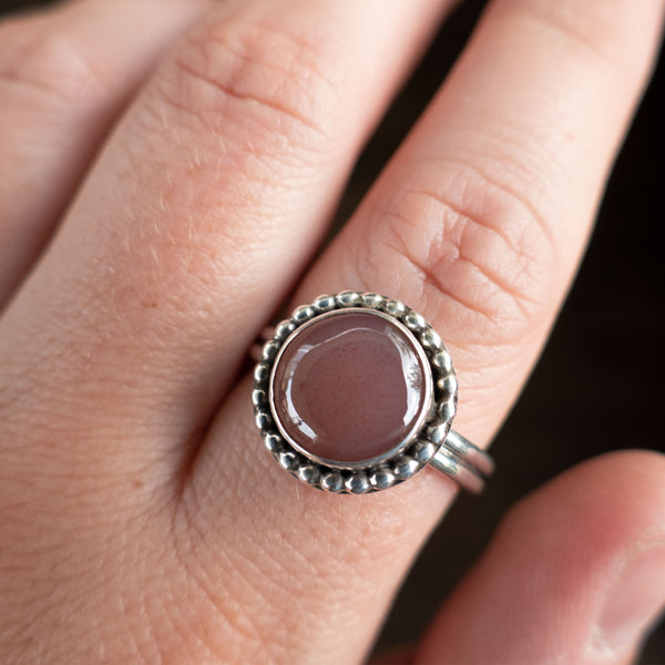 Size 9 Mauve Utah Agate and Sterling Silver Ring
