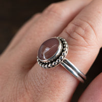 Size 9 pink agate and sterling silver ring