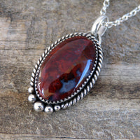 Red agate and sterling silver pendant