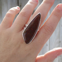 Red agate and sterling silver ring