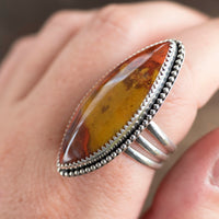 red and yellow jasper sterling silver statement ring