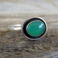 Size 9 Chrysoprase and sterling silver shadowbox ring
