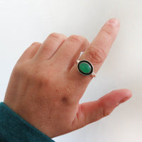 Size 9 Chrysoprase and sterling silver shadbow ring on hand