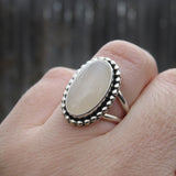 White Utah Agate and Sterling Silver Ring