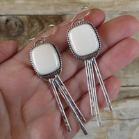 White buffalo and sterling silver fringe earrings