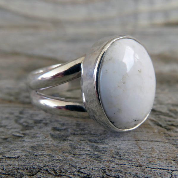 white buffalo and sterling silver ring