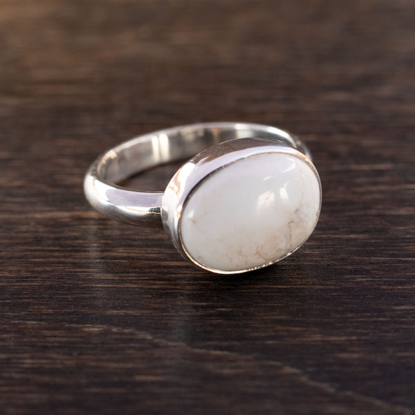 Size 6.5 white buffalo and sterling silver ring
