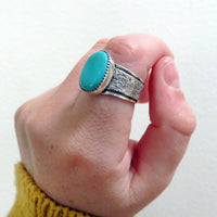 Size 8 Turquoise and Sterling Silver Wide Band Ring