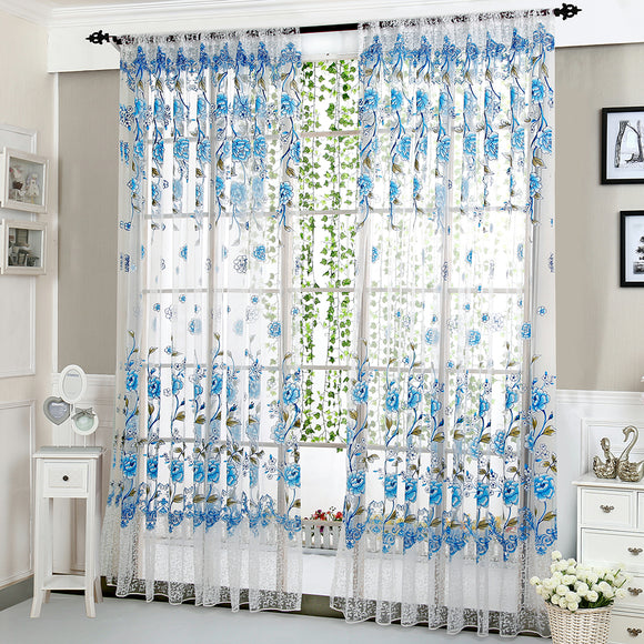 Peony Tulle Decorative Window Curtains - Multiple Colors