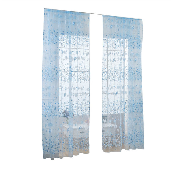 Floral Tulle Window Curtains