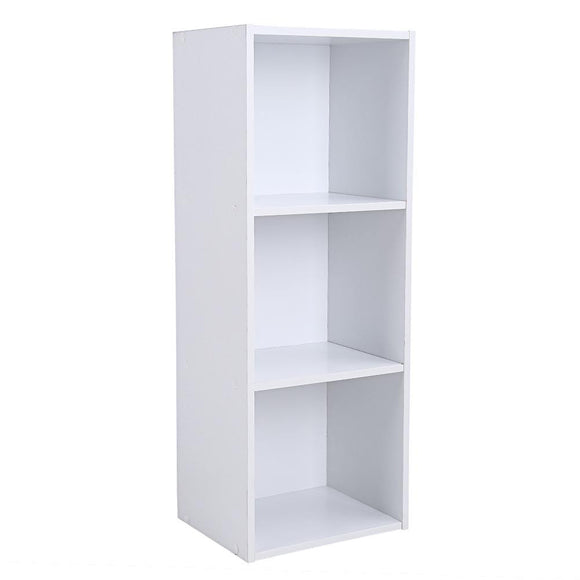 3-Tiered White Wooden Bookcase