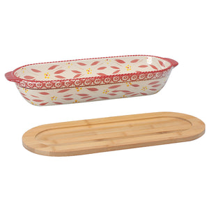 Tara's Must-Haves Old World Oval Loaf Pan with Wooden Tray Lid