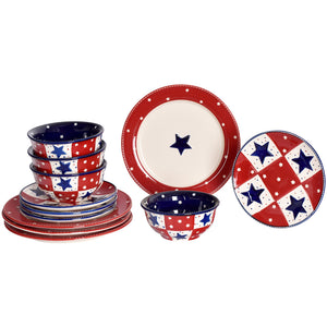 Star Stitched 12-Piece Dinnerware Set