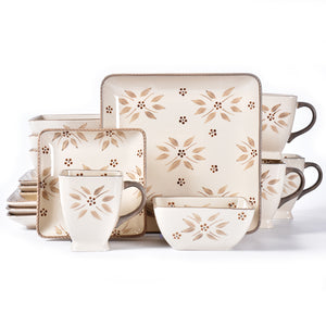 Old World 16 piece Square Dinnerware Set