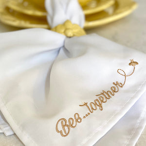 Bee-lieve Set of 4 Napkins and 4 Rings