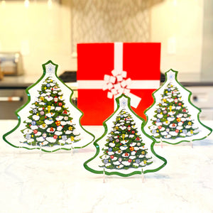 Set of 3 Glass Holiday Tree Plates