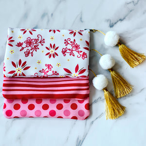 Set of 3 Canvas Pouches with Tassels