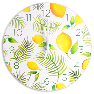 Lemons & Palms Glass Clock