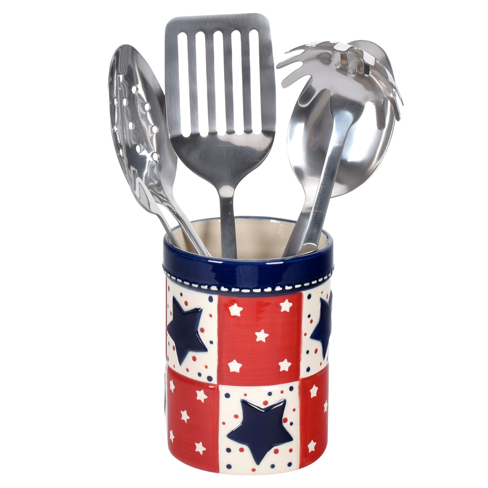 Star Stitched Utensil Crock w/ 5 Utensils