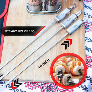 "Kebob Stainless Steel Skewers for Grilling - 16"" Long - 8 Pack - Flafster Kitchen"