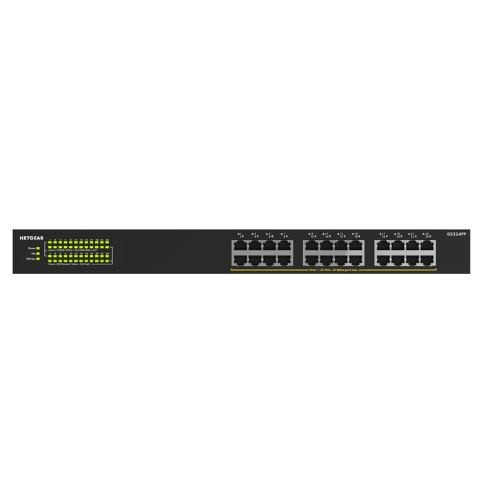 NETGEAR 24-Port Gigabit Ethernet Unmanaged PoE+ Switch (GS324PP) - with 24 x PoE+ @ 380W